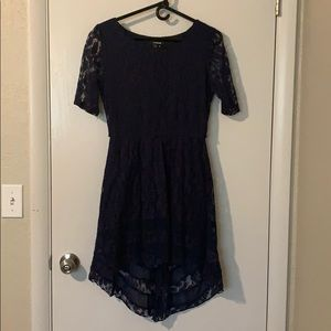 Navy blue, floral cocktail dress